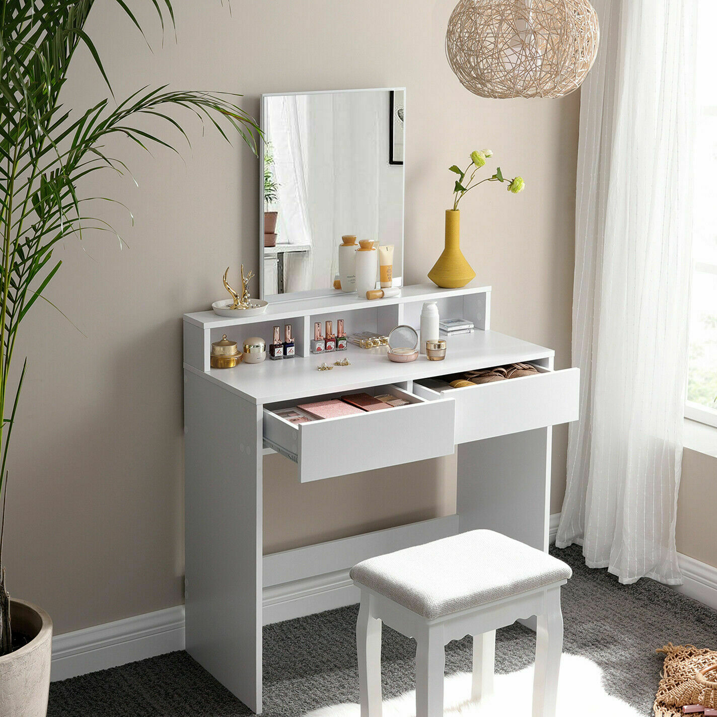 Coiffeuse moderne chambre table Maquillage Blanc 2 tiroirs Miroir