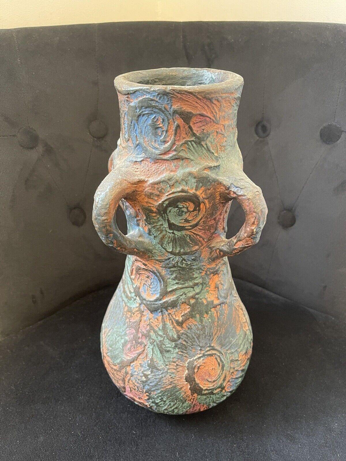 Vase Vallauris Années 60 Multicolore Terre Rouge
