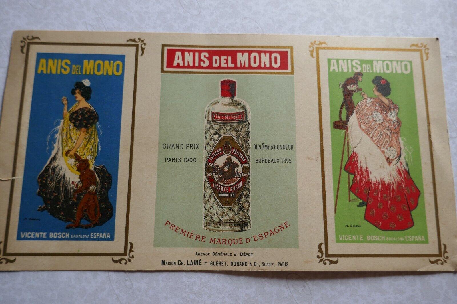 carton ancien ANIS DEL MONO  première marque d' ESPAGNE