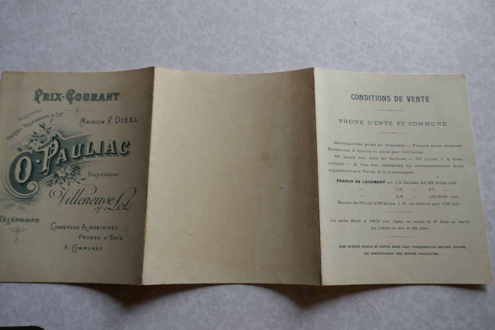 O.PAULIAC maison P.DIZEL  Villeneuve sur Lot 47 TARIF 1900 vierge  PRUNES D'ENTE