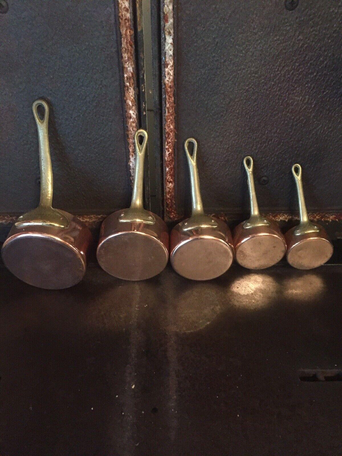 VINTAGE FRENCH COPPER SAUTÉ SAUCEPANS SET Of 5 6-10cm  Dia Riveted Handles.