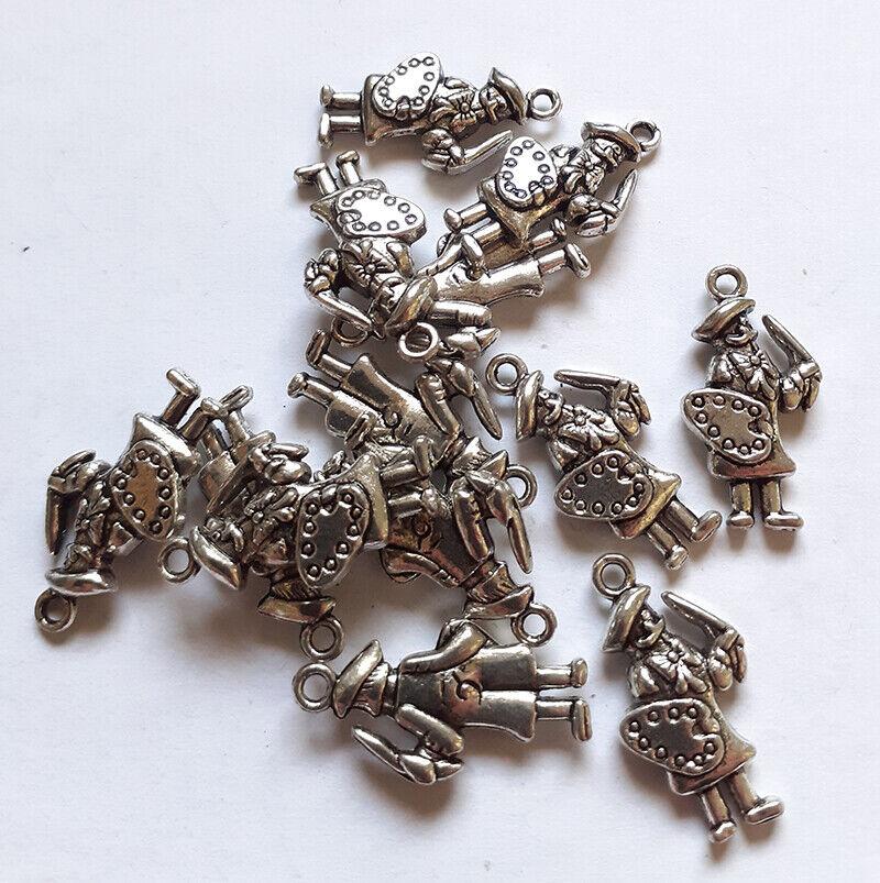 Lot de 13 breloques peintres italiens argenté - Charms pour confection de bijoux
