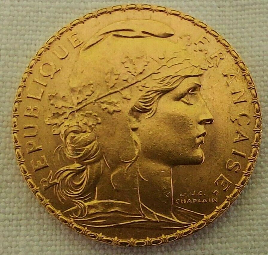 PIECE OR MARIANNE 20 FRANCS 1908