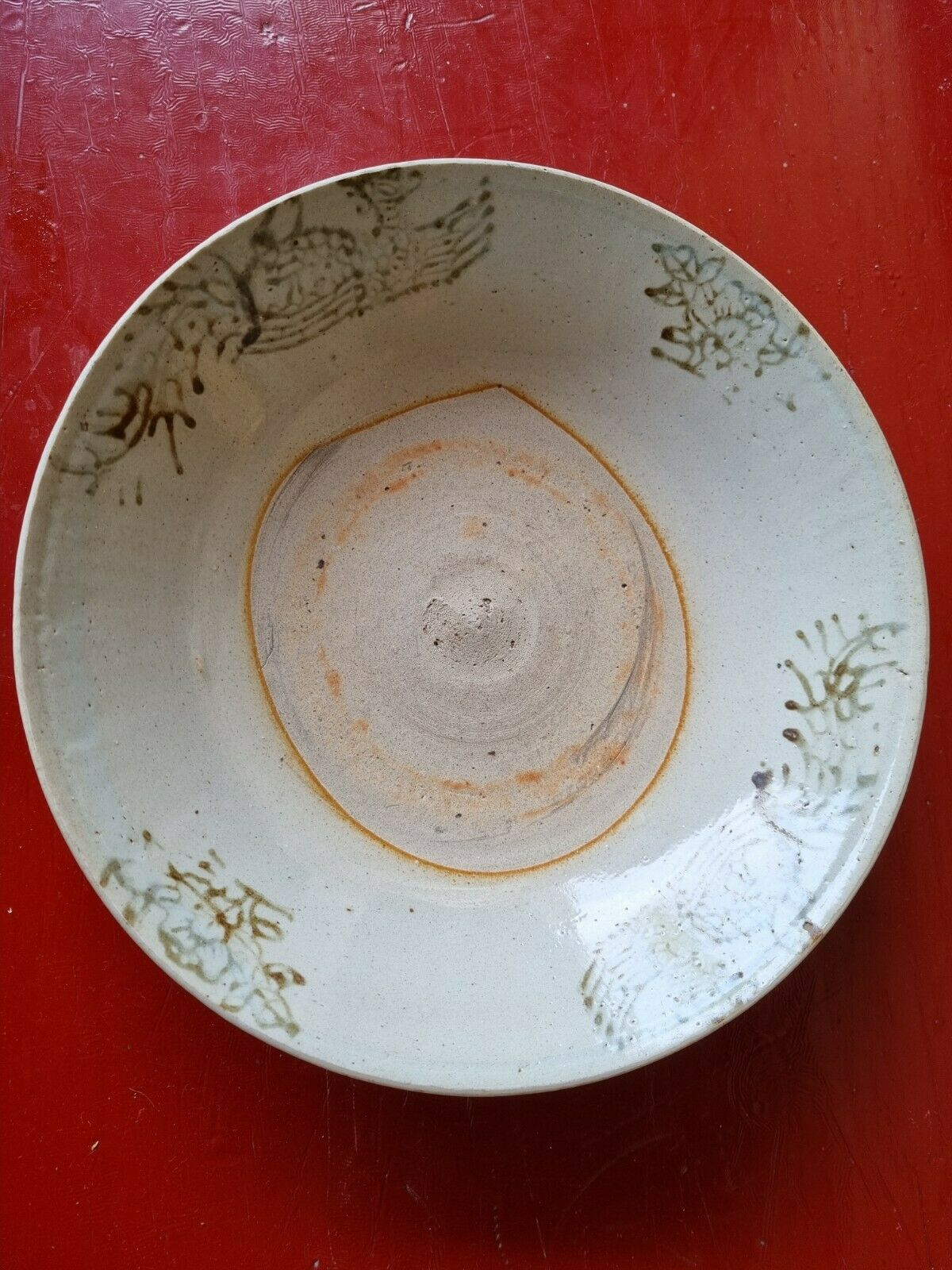 Assiette chinoise ancienne Chinese Zhangzhou red and white