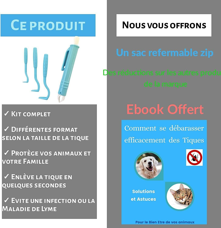 Tire tiques Lot Pince et Crochets  Produit Anti parasitaire + Ebook + Pochette