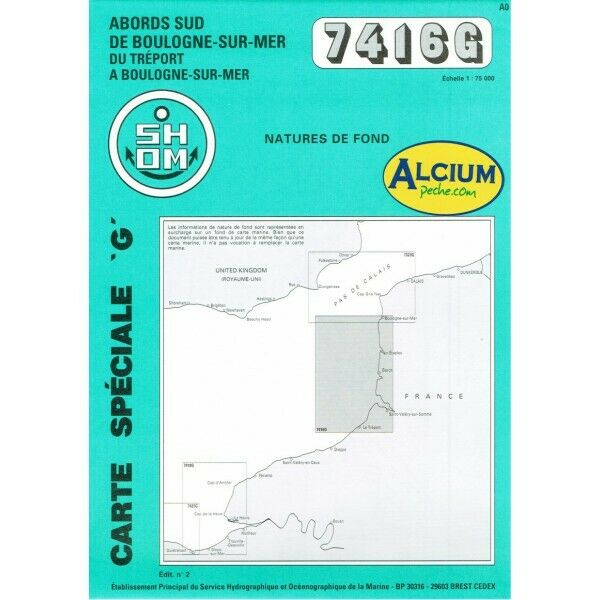 CARTE MARINE SHOM 7416 G ABORDS SUD DE BOULOGNE SUR MER alciumpeche