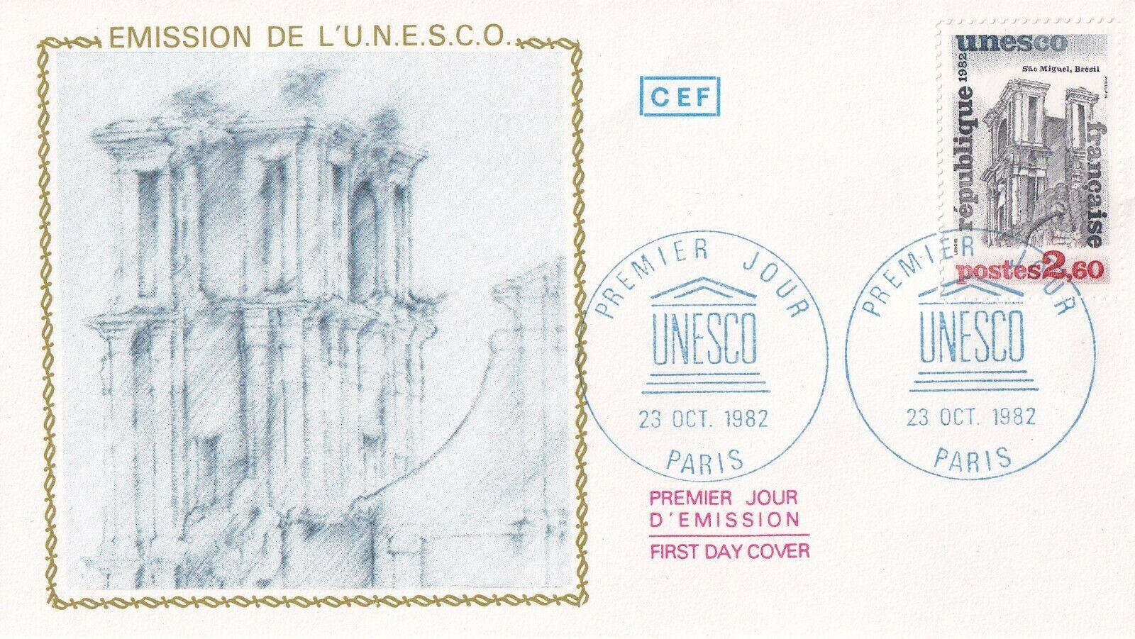 Enveloppe 1er Jour timbre 1982 UNESCO BRESIL BRASIL SAO MIGUEL église 5