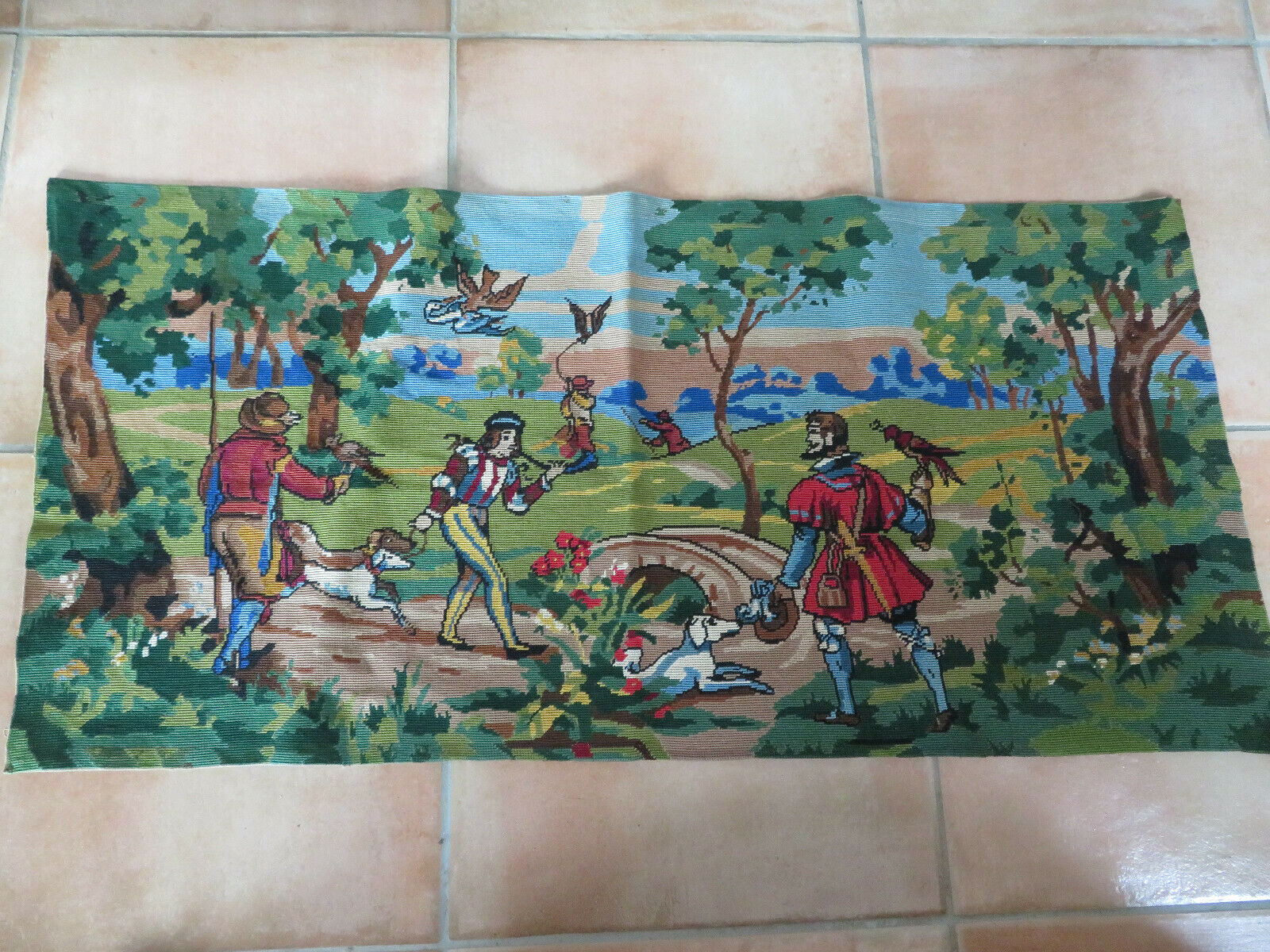 tapisserie canevas à décor de scène chasse