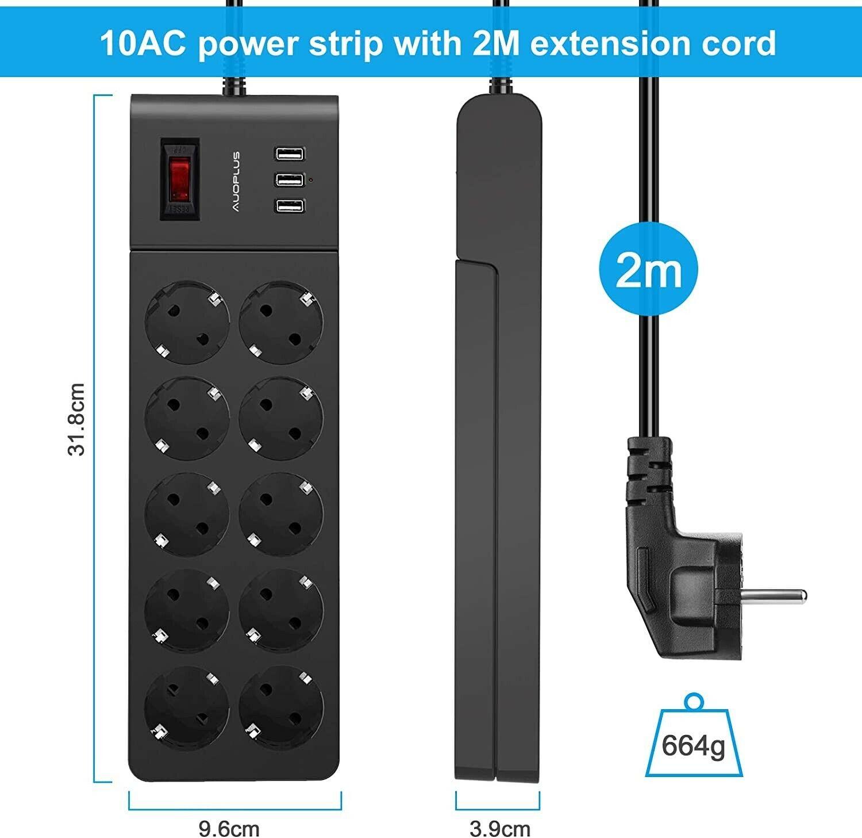 Multiprise USB avec 10 prises et 3 Ports USB Interrupteur Cable 2 Metres Noir