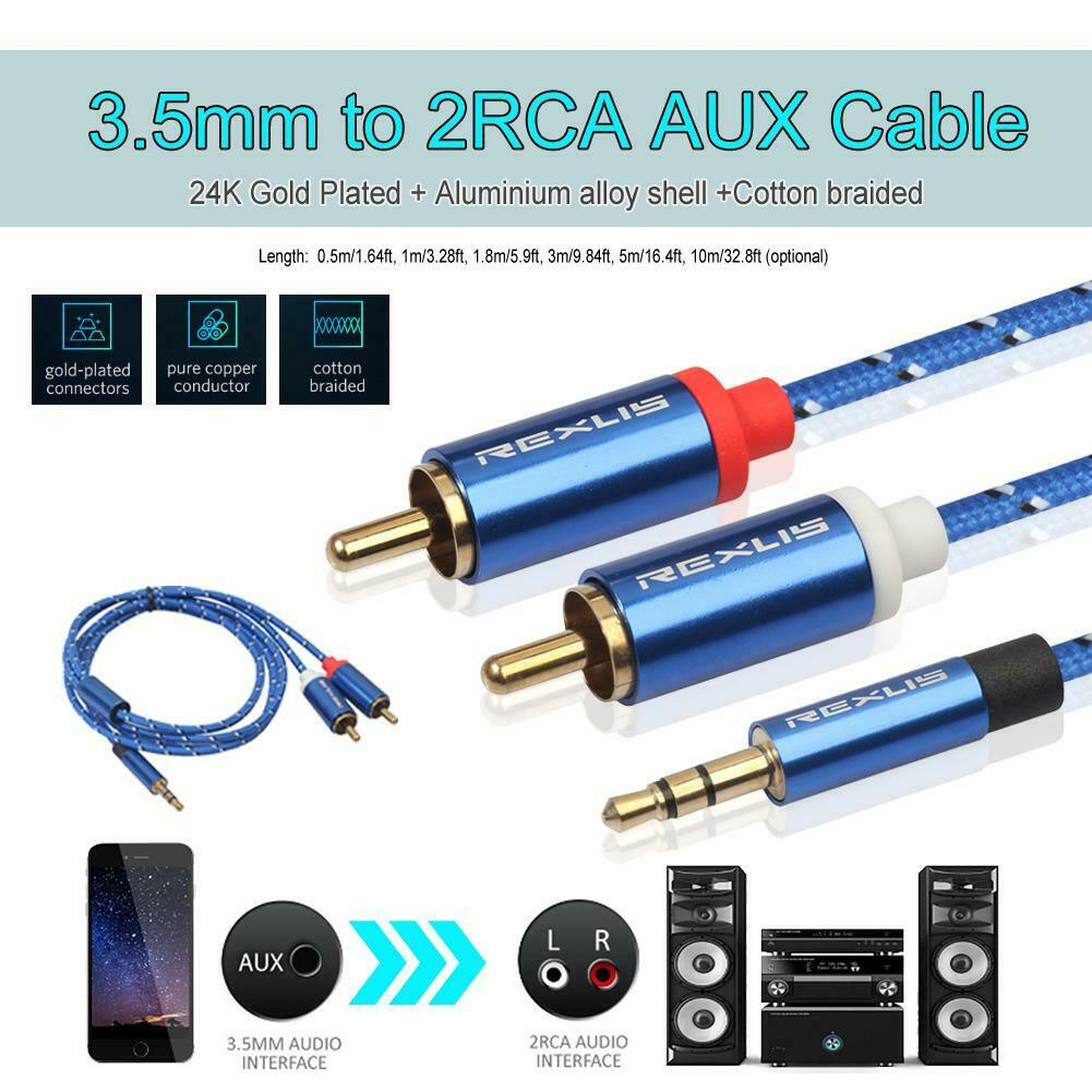 3.5mm Male to 2 RCA Male Aux Audio Cable for Amplifier Phone Edifer (1m)