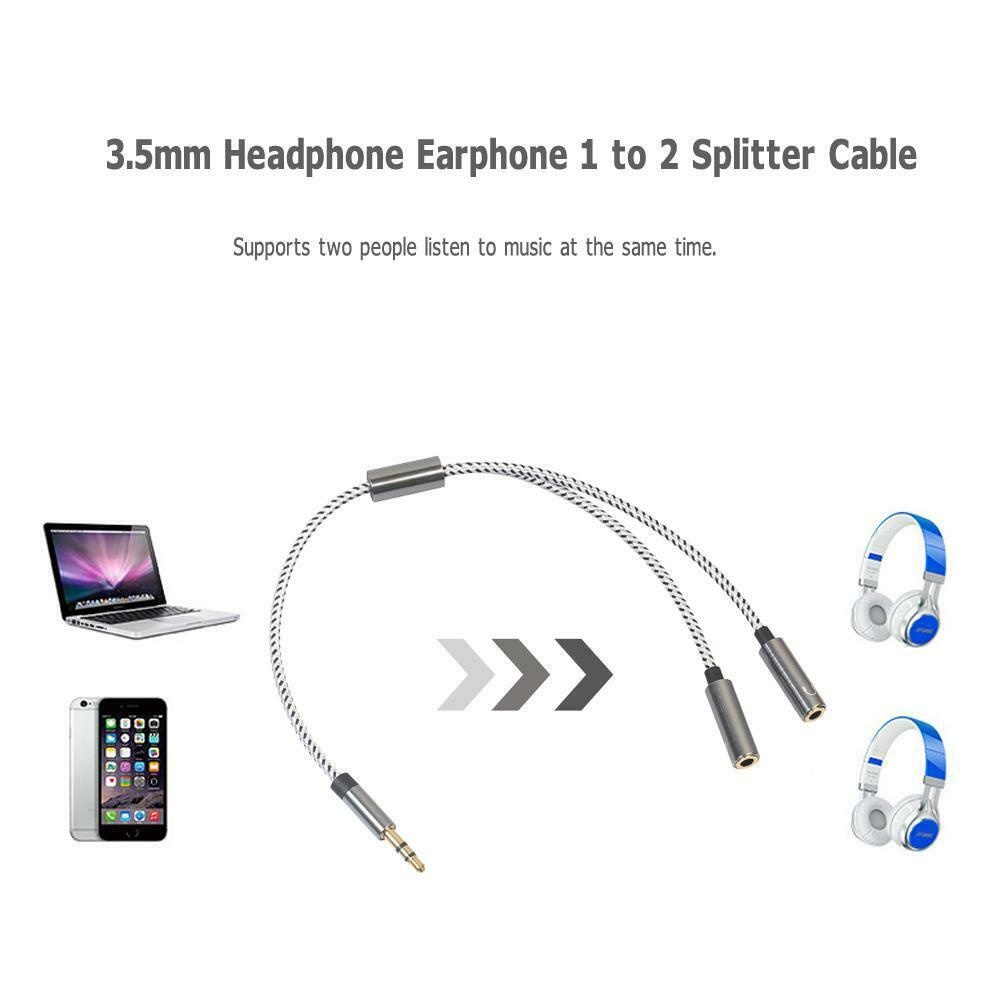 Headphone Splitter Audio Cable 3.5mm Male to 2 Female Adapter Cable (Grey)
