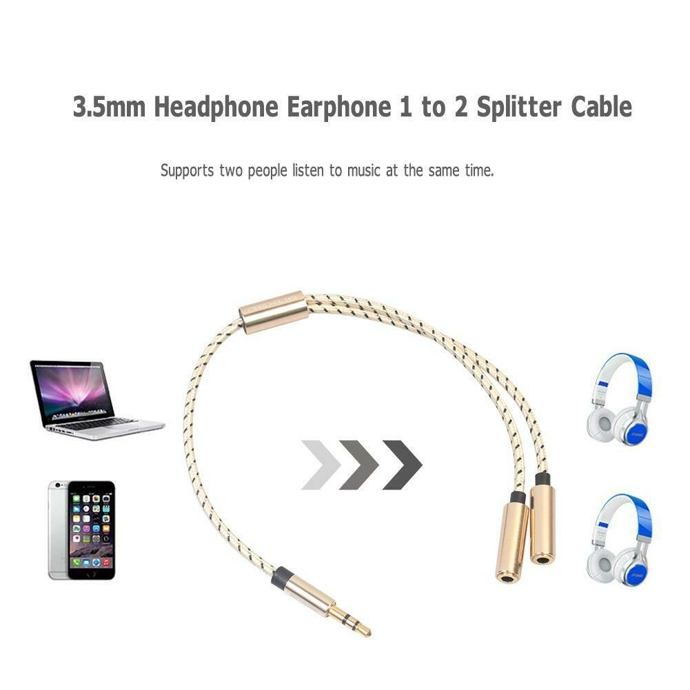 Headphone Splitter Audio Cable 3.5mm Male to 2 Female Adapter Cable (Gold)