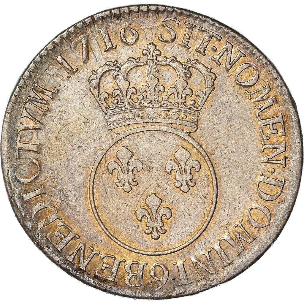 [#970786] Moneta, Francia, Louis XV, Écu Vertugadin, Ecu, 1716, Rennes, BB, Arge