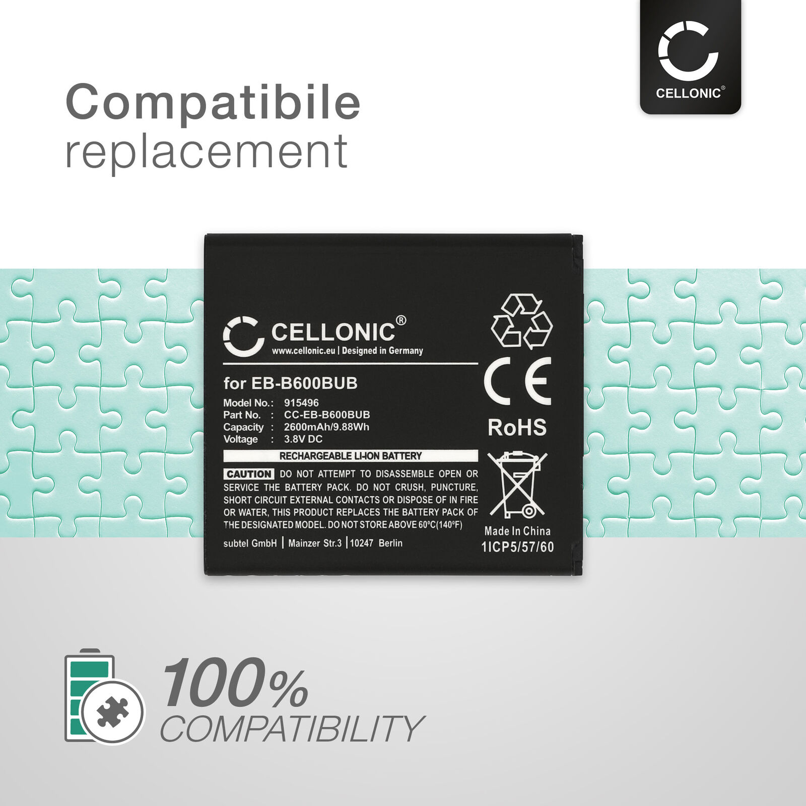 2x Batterie pour Samsung GT-i9500 Galaxy S4 GT-I9295 Galaxy S4 Active 2600mAh