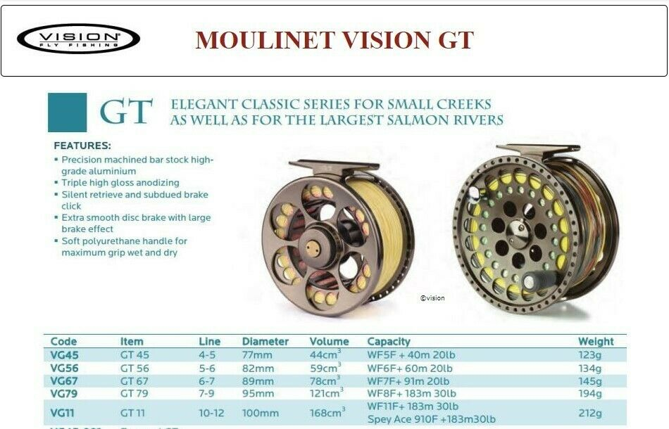 VISION GT FLY REELMoulinet Mouche  - SIZE 10 /11