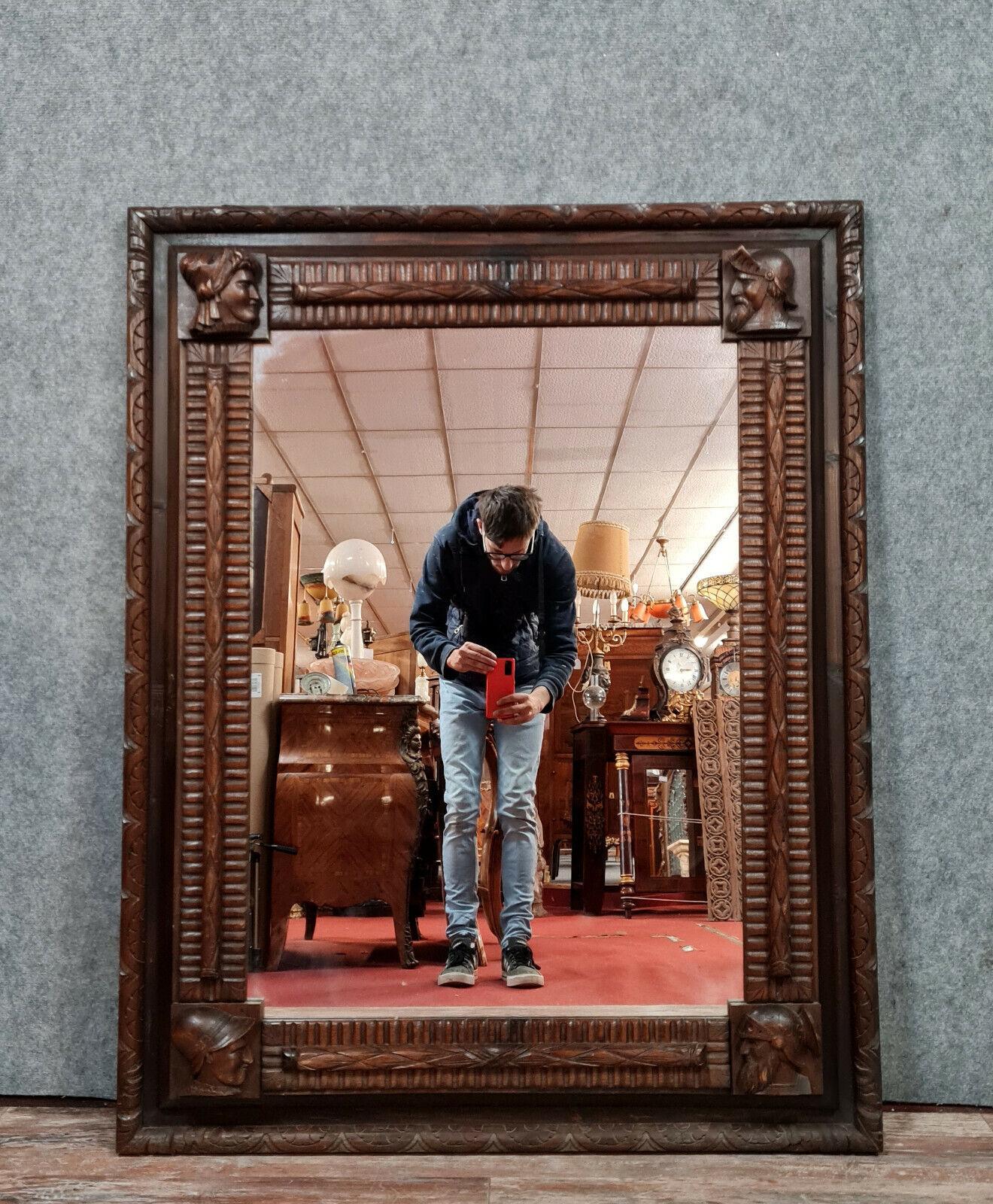 Très important miroir Renaissance en bois teinté époque XIXème