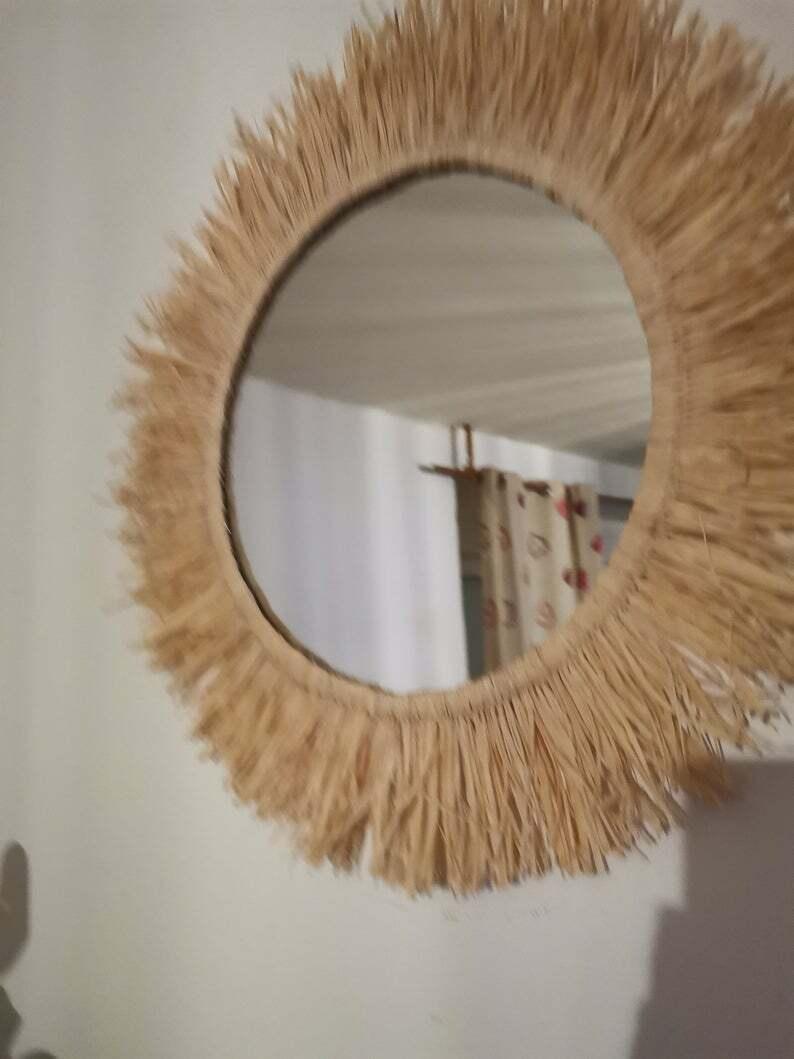 Miroir raphia 45 cm