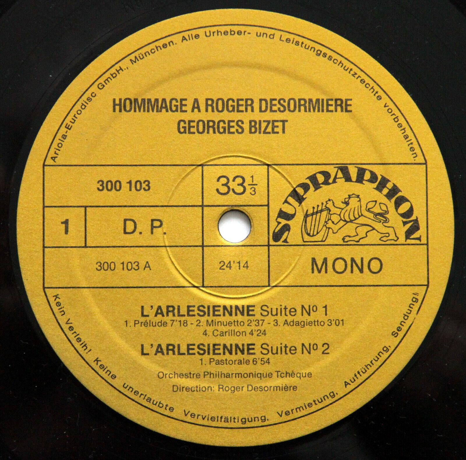 Supraphon 913 296 HOMMAGE à Roger DESORMIERE BIZET DEBUSSY RAVEL 2 x LP MINT