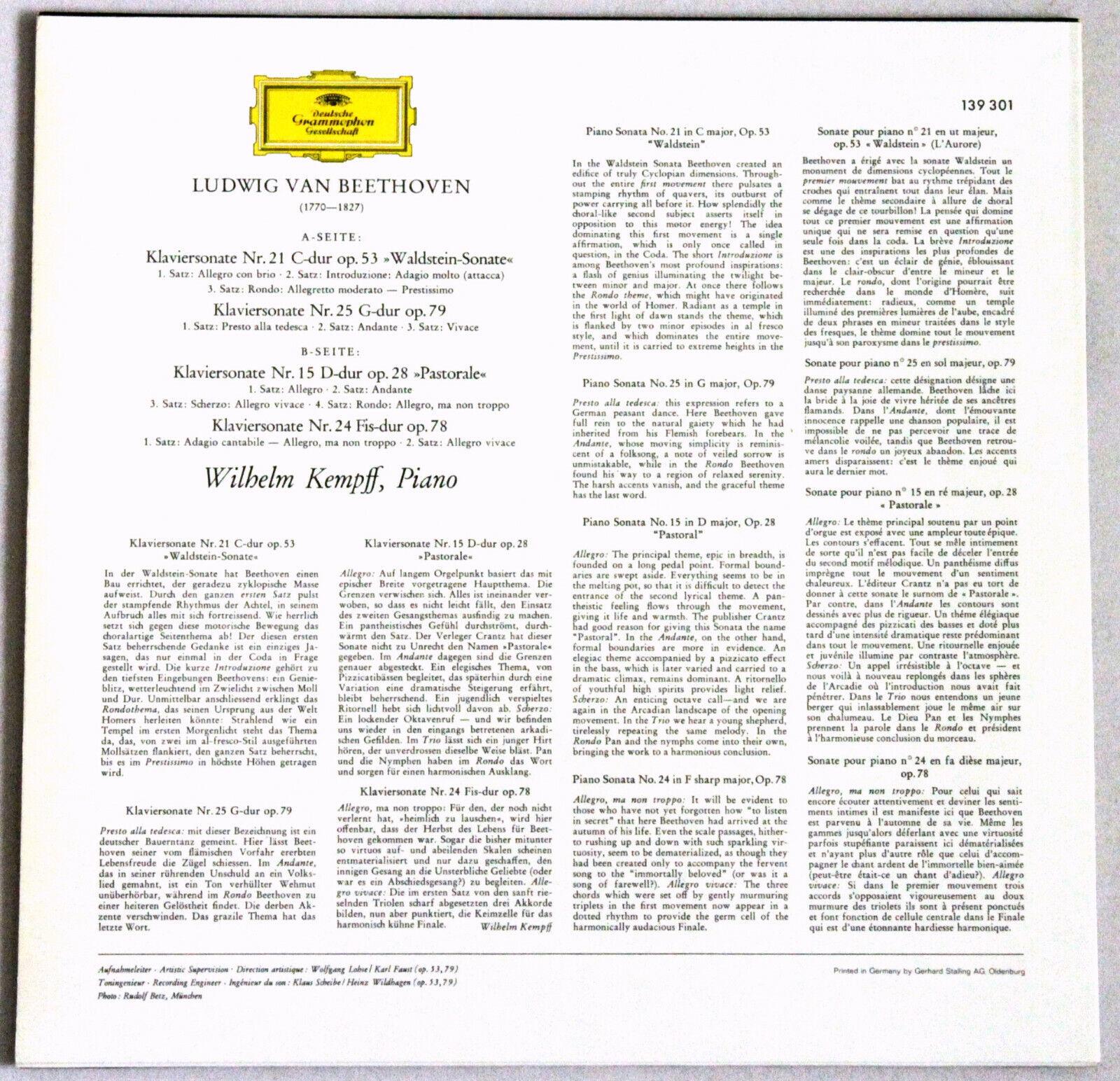 DG 139 301 Beethoven KEMPFF Sonatas N°15 'Pastorale', N°21, N°24 & N°25  MINT