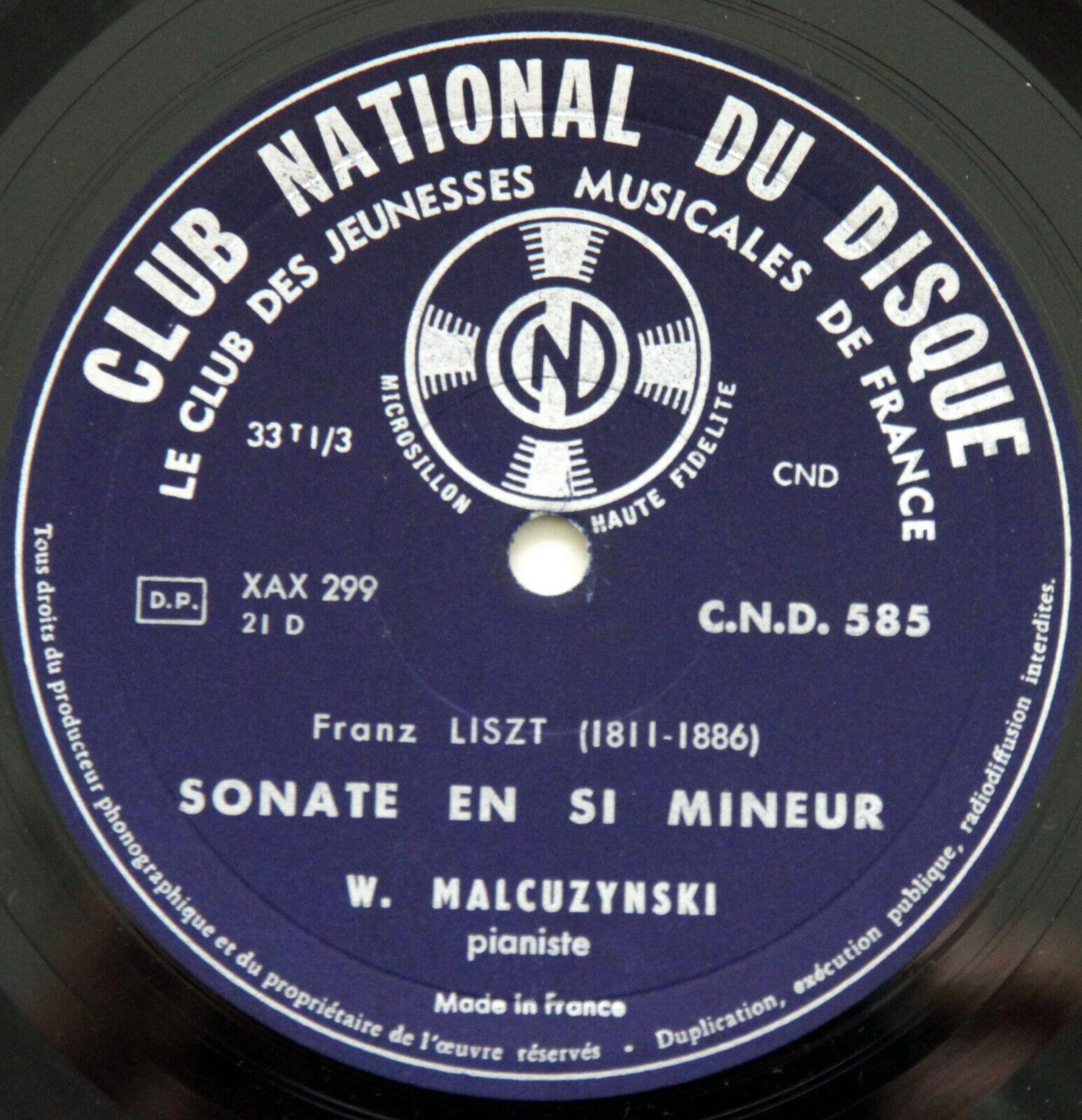 CND 585 LISZT Concerto N°2 & Sonata in B minor MALCUZYNSKI SUSSKIND LP NM+