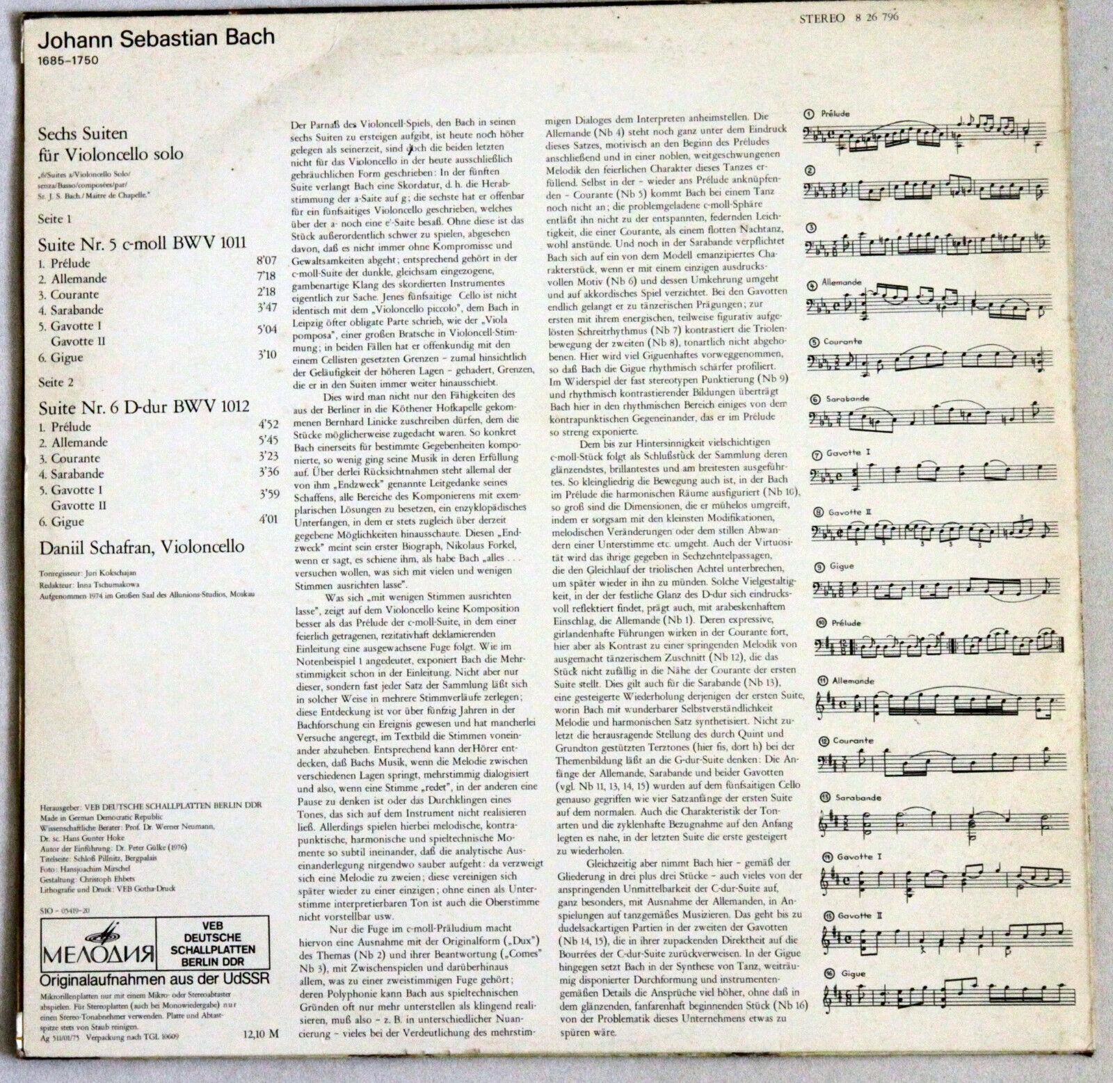 Eterna Melodiya SCHAFRAN (SHAFRAN) BACH Suites for Cello Solo N°5 & 6 LP Ed 1