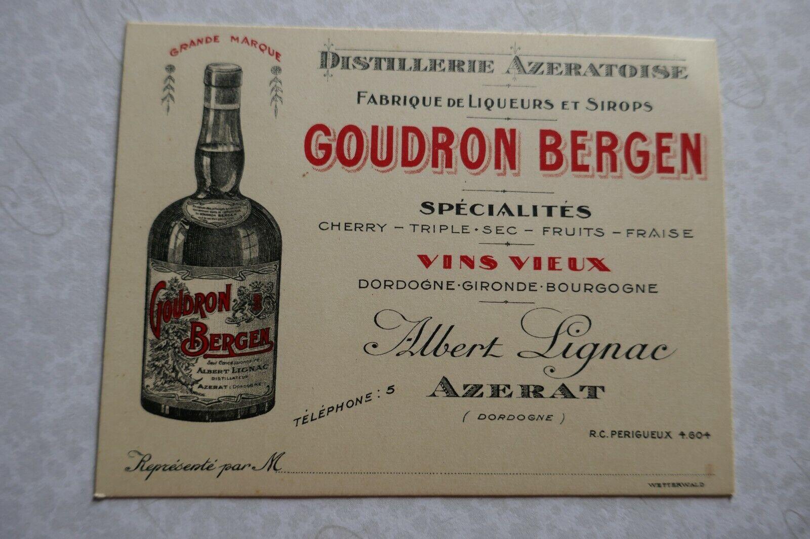 carton ancien distillerie AZERATOISE  GOUDRON BERGEN Albert Lignac AZERAT  VIN
