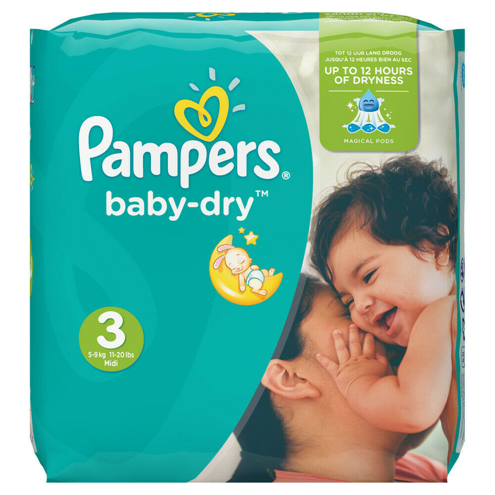 Couches Pampers Baby Dry Taille 3.6-10 Kg. 224 Couches.