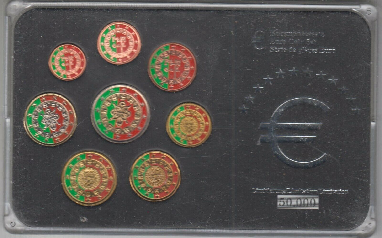 PORTUGAL - 1 ct a 2 euros (colorisée)(differents millessimes)